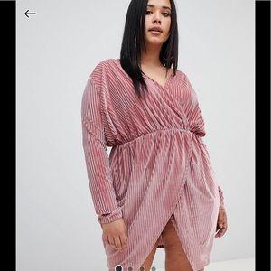 Misguided Velvet Ribbed Wrap Dress
